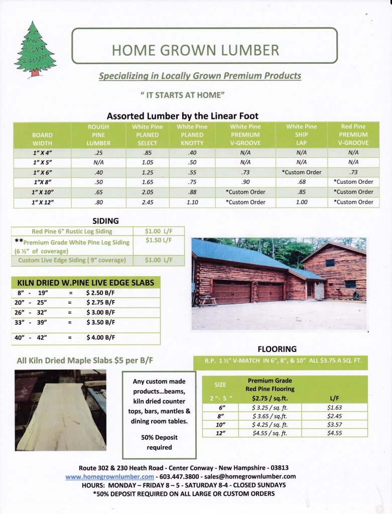 lumber price list conway nh home grown lumber